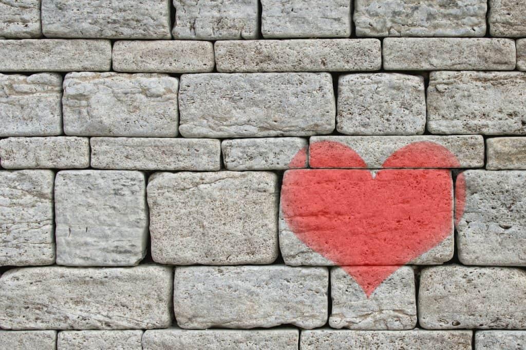 stones, wall, heart